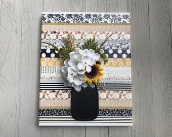 Mason Jar Canvas Art, Mason Jar wall decor, Washi Tape Art, Canvas wall art, Canvas wall decor, Wood wall decor, Mason Jar decor, Gift Ideas