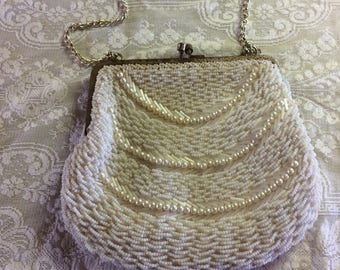 Vintage Purse, Pearl and Mother of Pearl Beading, Made in Hong Kong Label