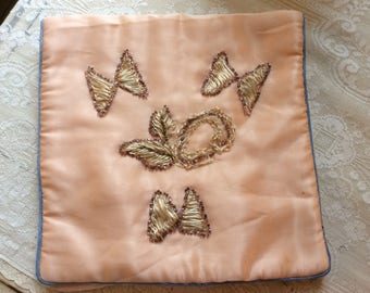 Antique Victorian Silk  Lingerie or Hankie Holder with Exquiste Silk and Glass Beaded Appliqués