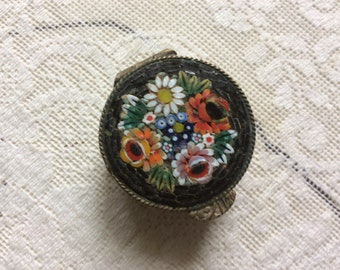 Antique Petite Micro Mosaic and Etched Brass Pill, Ring Trinket Box, So....Detailed!