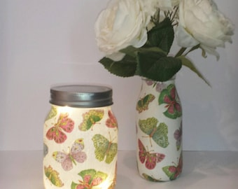 Hand decorated butterfly small mason jar light.