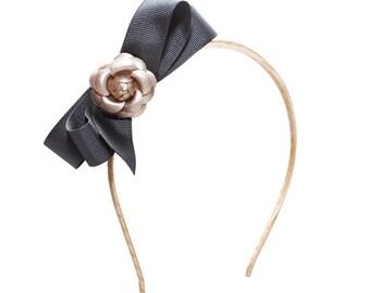 Camelia hairband - black bow-Classic hairband- classic style- girl hairband- toddler hair band - camelia- camelia hairband