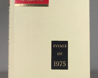Events of 1975 Standard Reference Encyclopedia Yearbook, Birthday Gift, 1975 News Events, 1975 Celebrities, Black & White Photos, Culture