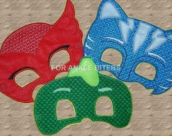 Adult Size Too! PJ Hero Masks, Red Owl, Blue Cat, Green Lizard, PJ Birthday Party, Birthday Gift Kids Masks