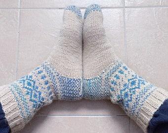 Icelandic blue socks, handknit wool socks, norwegian socks, high socks, women socks, fair isle, blue socks, knit socks, woodland