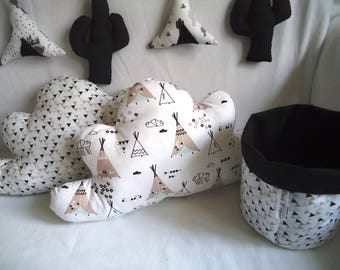 Clouds, 5 pillows for 60 baby cot bumper x 120 cm - Indian Theme - gift idea birth, deco room baby