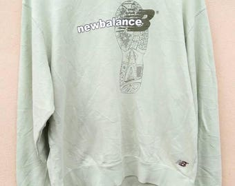 New Balance sweatshirt spell out crewneck jumper green colour unisex size L