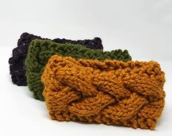 Women's knit headband. Chunky knit earwarmer. Cable knit head band. Braided ear warmer. Knitted twist headband. Winter headwrap.