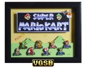 Super Mario Kart Shadow Box - Title Screen - SNES - Super Nintendo - 3D Shadow Box Glass Frame - 12x10 - Christmas Gift - Man Cave Decor