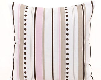 SALE ENDS SOON Pink and Brown Stripes Pillow Cover, Pink Throw Pillows, Girls Room Decor, Dorm Decor, Soft Pink Cushions, Nursery Decor