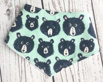 Mint Bears Dribble Bib