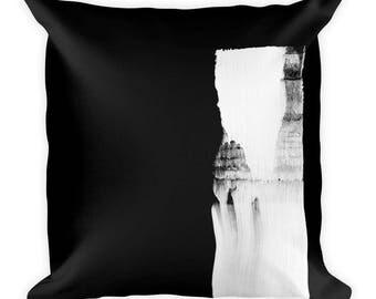 Black & White Abstract Brush Art Cushion - Soft Pillow Cushions, Stylish Scatter Cushions, Arty Cushions, Minimalistic Style Decor,