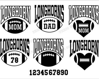 Longhorns Big Football Mom Download Files - SVG, DXF, EPS, Silhouette Studio, Vinyl, Digital Cut Files - Use with Cricut and Silhouette