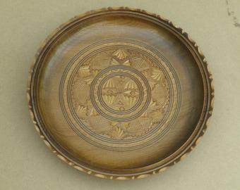 Large Wooden Dish - Carved Design - Vintage Wood