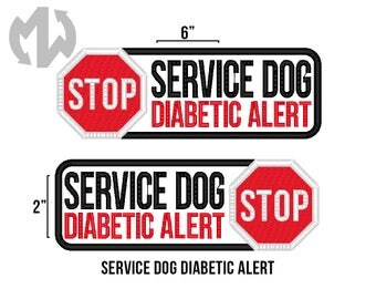 "Service Dog DIABETIC ALERT 2"" x 6"" Patch with Stop Sign"