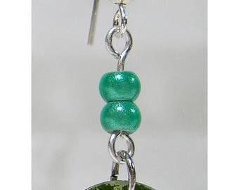 """""""Sequin"""" l green shell pierced earrings"""
