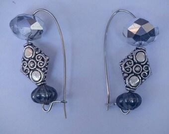 The leadwort, handmade beaded earrings,  faux silver and grey-blue bead