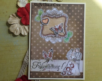 Brown red wedding bridal congratulations card
