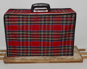 "Red plaid suitcase,tartan vintage train case,folding,collapsible luggage,soft suitcase,overnight bag,18""x12"",soft fabric,sturdy handle"