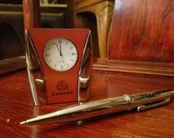 Cunard Line Chrome Travel Clock and Machine-Age Ballpoint Pen - Boxed