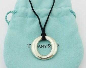Authentic TIFFANY & CO Sterling Silver Sevillana Black Silk Cord Necklace