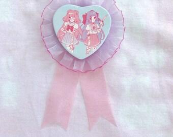 Kawaii Menhera Heart Shaped Rosette Badge