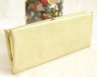 Vintage Gold Clutch Envelope Handbag, Purse, Wallet, Cocktail, Evening, Wedding Party, Girl's Night Out, Glam Costume, New Year's, Holiday