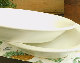 Choice Large Restaurant Ware Vintage Serving Bowl, White, Rustic, Country, Farmhouse, Kitchen, Pasta, Vegetable, Family Style, Dinner, Table