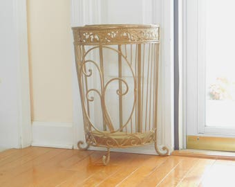 Vintage Gold Metal Umbrella Stand Holder with Drip Tray, Shabby Decor, Indoor, Entry, Mudroom Furniture, Free Standing, Ornate, Three Footed