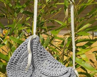 Pretty grey crochet purse