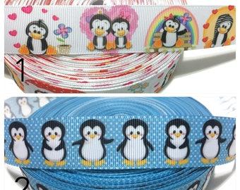 """1"""" Penguins Ribbon, Penguin Grosgrain Ribbon"""