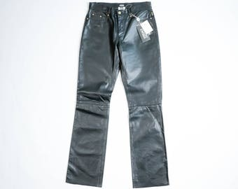 Versace - Leather bell-bottom pants