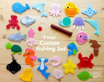 Custom Felt Magnetic Fishing Game, Montessori Learning Sensory Toy, Felt Fish Sea Creatures Ocean Animals, Fishing Rod, Educational Game