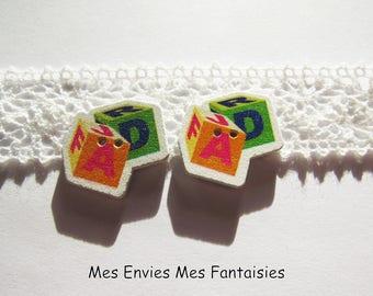 5 buttons embellishment scrapbooking Alphabet Cubes 25 x 25mm ORANGE / Green