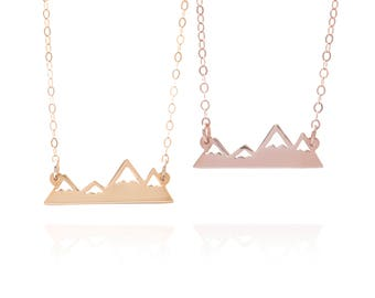 Rose Gold Or Gold Mountain Necklace, Choose Either Rose Gold Or Gold, Mountain Range Jewelry, Outdoor Pendant