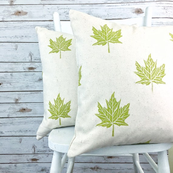 MAPLE LEAF PILLOW set! Green chartreuse maple leaves organic cotton canvas pillow covers, hand printed, one of a kind, green throw pillow