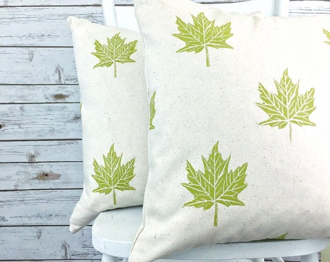 Set of two organic canvas pillow covers - maple leaves in seagrass