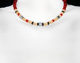 Festival choker beaded wooden black cord choker red simple boho chic choker necklace beaded jewelry wood beads choker with beads