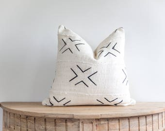 18X18 Authentic African Mudcloth Pillow Cover