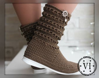 Crocheted Outdoor Summer Folk Tribal Made to Order Women Fashion Boots Boho style Women's Summer Boots Handmade Women's Shoes Knitted Boots