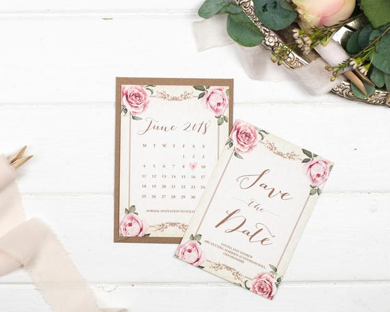 Vintage Ivory Wedding Save The Date Card Sample