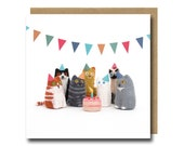 Cat Birthday Card, Cat Card, Funny Birthday Card, Birthday Cat Card, Needle Felted Animal, Cat Lover Card, Birthday Card Funny, Quirky Card