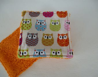 set of 10 wipes owls multicolored 10 x 10 cm