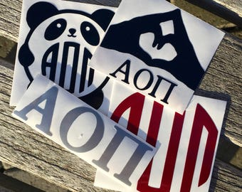 Alpha Omicron Pi Decals   Sorority Stickers   Sorority Decals   Official Greek Licensed Product