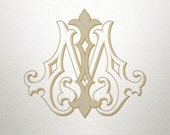Digital Wedding Monogram - IM MI - Wedding Monogram - Vintage