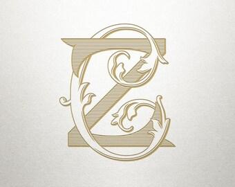 Interlocking Font Design - CZ ZC- Interlocking Font - Vintage