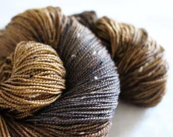 You Can Do It, Brucie! - House Wren - 85/15 superwash merino/ nylon tweed sock yarn
