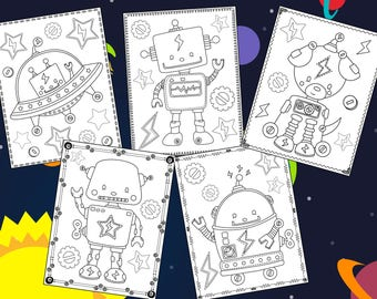 Cute Robots Coloring Pages