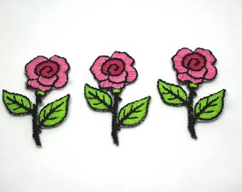 Pink Rose Stitched Iron on Embroidered Patch Motifs - Set of 3 - Appliqué Patches