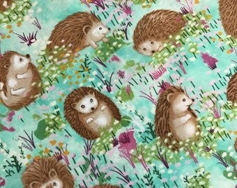 Sale Hedgehogs in Turquoise from the Hedgehog Village Collection by Judy Hansen for Paintbrush Studios